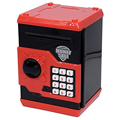 FEENM Code Electronic Piggy Banks Mini ATM Electronic Coin Bank Coin Box for Kids with Electronic Lock & Secret Code to Unlock with Password Great Gift Toy for Children Kids(Black & Red) from FEENM