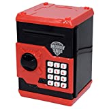 FEENM Code Electronic Piggy Banks Mini ATM Electronic Coin Bank Coin Box for Kids with Electronic Lock & Secret Code to Unlock with Password Great Gift Toy for Children Kids(Black & Red)
