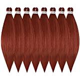 WOME Pre-stretched Braid Professional Braiding Hair Extension Dark Red 26 Inch 8 Packs Hot Water Setting Perm Yaki Synthetic Hair for Twist Braids