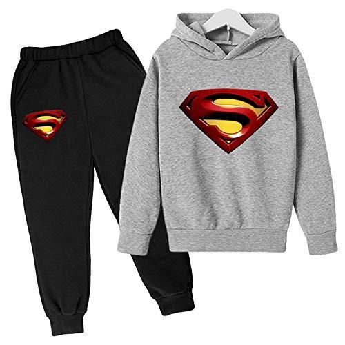 Proxiceen Sudadera con capucha de Superman Anime 3D Cosplay, manga larga, estampado gráfico y pantalón de jogging, sudadera con capucha A3. 140 cm