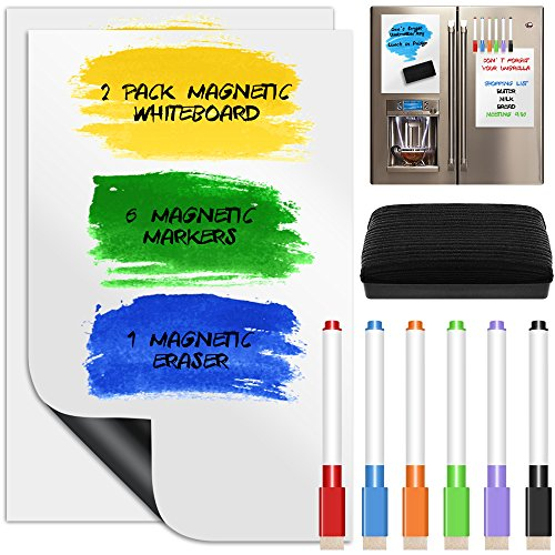 YuCool - Lámina magnética de borrado en seco / pizarra, 2 unidades, con 6 marcadores de colores y borrador para pizarrón, actualizada, multiuso (pizarra de mensajes con calendario, para nevera o cocina, para estudiantes), 20 x 30 cm, color blanco