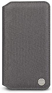 Moshi Overture for iPhone XR Case 6.1-inch, Vegan Leather, Wallet Phone Cover for iPhone XR, Herringbone Gray