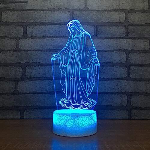 Acrílico 3D LED Luz nocturna Bendita Virgen María Touch 7 Cambio de color Lámpara de mesa de escritorio Hogar Decorativo Luz de sueño Regalo de Navidad han-9022