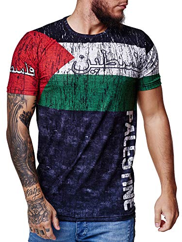 Herren Länder T-Shirt Kurzarm Rundhals Fußball Palestine 1518 XL