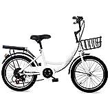 Fetcoi Bicicleta infantil de 20 pulgadas, 7 velocidades, con asiento trasero y cesta de bicicleta, marco de acero al carbono, frenos delanteros y traseros, para niños y niñas, 115 – 130 cm