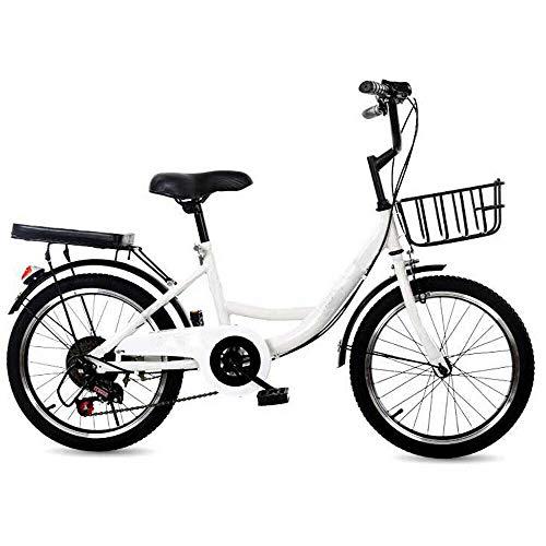 Bicicleta infantil de 20 pulgadas, color blanco, para niños y niñas, bicicleta de montaña prémium para niñas, jóvenes, hombres y mujeres (altura recomendada: 115 – 130 cm)
