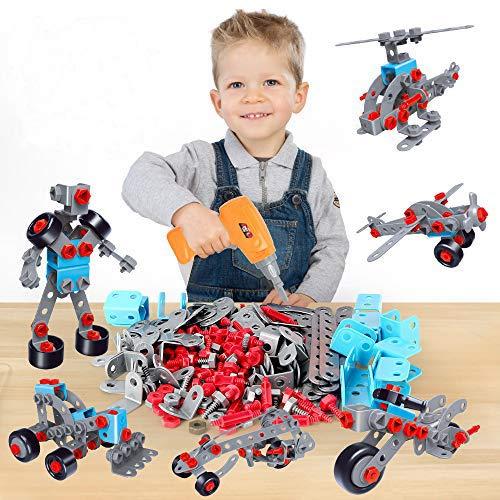 Juguete de construcción 12 en 1, 282 PCS Juegos de taladros eléctricos, ensamblaje de Rompecabezas Creativo 3D DIY Toy, Montessori Toys Mosaic Toy Gifts