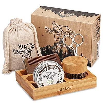 BFWood Beard care Kit with bamboo Holder for men - Beard Brush, Beard Comb, Scissor, Beard Balm 30g for Trimming,Grooming,Softening,Conditioning,Styling