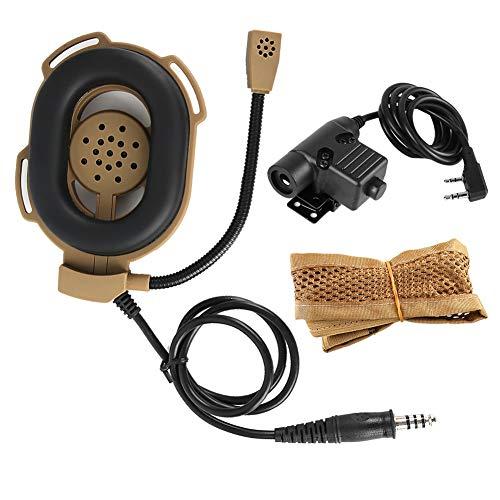 DAUERHAFT HD03 Z Einseitiger taktischer Bowman Elite II-Kopfhörer, Walkie-Talkie-Headset mit K-Kopf und U94-PTT für rechtes und linkes Ohr(Braun)
