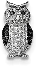 Mireval Sterling Silver Anti-Tarnish Treated Black and White CZ Owl Slide Pendant