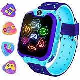 Reloj Inteligente para Niños de Pantalla Táctil con Juego de Música - Smartwatch para Niños Niña 3-12 Años (Tarjeta SD de 1GB incluida Relojes Inteligentes con Llamada SOS Cámara calculadora,Azul