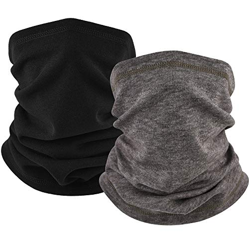 EXski Winter Neck Gaiter Warmer, Soft Windproof Face Mask Balaclava for Cold Weather Skiing Cycling Outdoor Sports 2 Packed