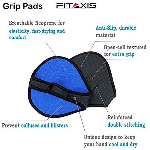 FITAXIS® Gewichtheber-Griffpolster Handschuhe Leder Neopren Haifischtuch Gym Workout, blau, Medium/Large