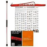 FLEXI-BAR® Flexi-Sports Kit bien-être rouge standard 1, barre vibrante très résistante avec étui rouge, DVD d'introduction, DVD de bien-être et plan d'entraînement, barre d'inertie et bâton oscillant