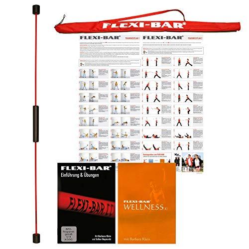 FLEXI-BAR® Standard Rot Wellness-Set 1, hochbelastbarer Schwingstab von Flexi-Sports mit Tasche Rot, Einführungs-DVD, DVD Wellness und Trainingsplan, Schwungstab, Schwingstick