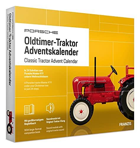 FRANZIS 67133 - Porsche Traktor Adventskalender 2020 – in 24 Schritten zum Oldtimer-Traktor unterm Weihnachtsbaum, Bausatz für das detailgetreue Modell im Maßstab 1:43, empfohlen ab 14 Jahren