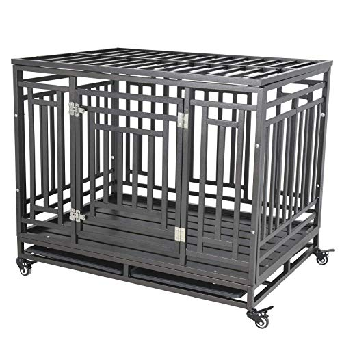 Nurxiovo 42 Inch Dog Crate Cage for Large Dog Pets with Strong Metal Playpen Heavy Duty Sturdy Steel Kennel with Removable Tray Four Wheels