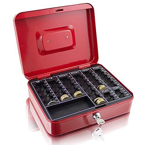 Geldkassette 25 cm groß abschließbar Münz Geld Zählbrett Kasse Safe Rot 250mm x 200mm x 70mm (B/T/H)