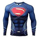 COOLMAX Upgrade Raglan Sleeve Superman 3D Printed T-Shirt Men Compression Shirt (Small, Dark Blue)