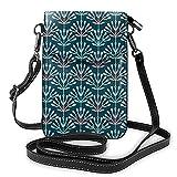 Bolso de hombro cruzado para mujer bolsa de teléfono arco flor azul oscuro titular de la tarjeta del monedero organizador del dinero bolso cuero de la PU