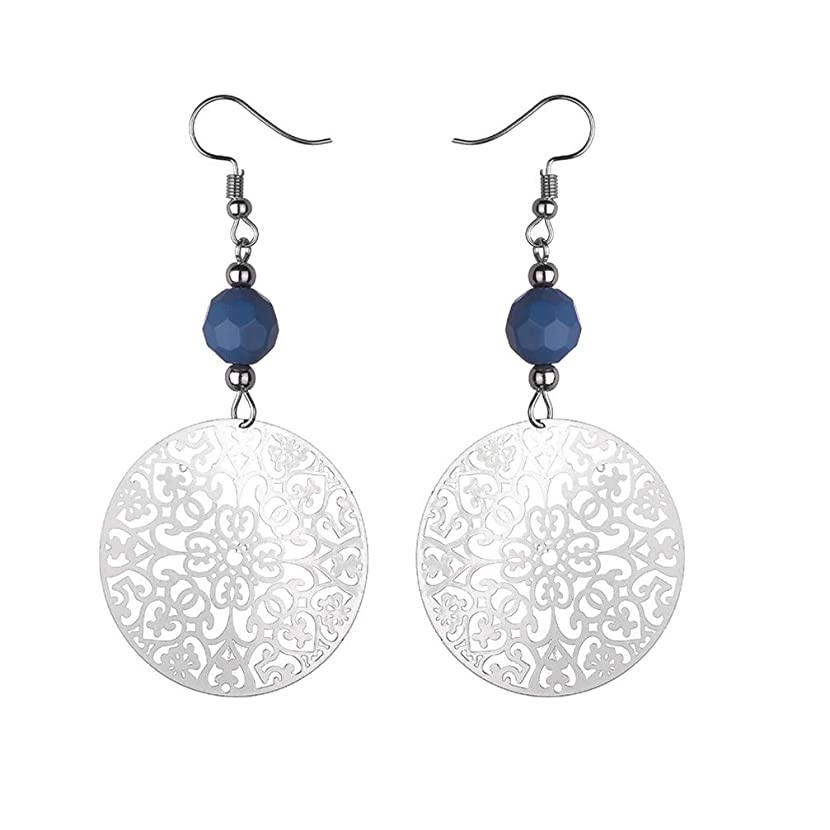 Myhouse Vintage Round Pendant Big Hoop Earrings Charm Gift for Women,Blue