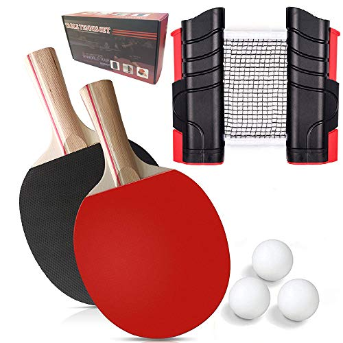 Set da Racchette Ping Pong Professionale, 1 Rete Regolabile e Portatile Tavolo Ping Pong, 2 Racchette Ping Pong in Gomma a Doppia Faccia, 3 Palline Ping Pong e 1 portatile da Borsa (Nero)
