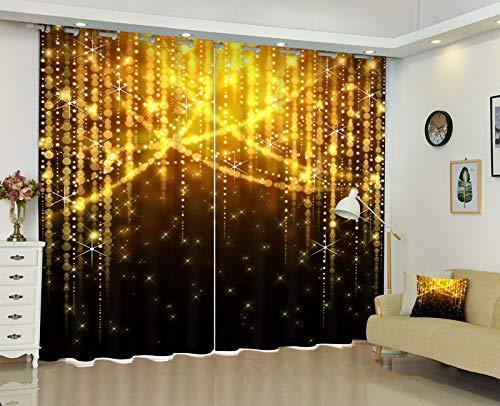 Meetshine Blackout Curtain-Stern-Lichter Vorhänge 2-Panel-Fenster wärmedämm Vorhänge für Schlafzimmer Wohnzimmer Kinder,3 * 2.7m
