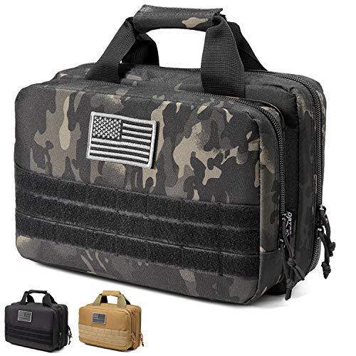 DBTAC Gun Range Bag XS | Tactical 1~2 Pistol Bag Firearm Shooting Case with Lockable Zipper for Handguns and Ammo (Black Camo)