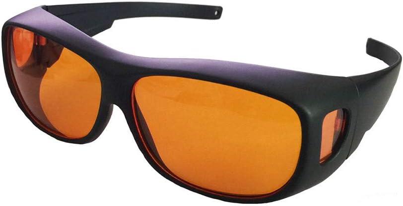 SMAA Profesional 190 NM Longitud Onda 490nm-DO 6+ Violeta/Azul Gafas Seguridad 405nm, 445nm, 450nm, 473nm para los Rayos UV y Azul Semiconductor vidrios Protectores, Compatible miope Glasses