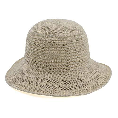HUACHEN Neue Panama Stroh Sommer Fashion Beach Folding Lady Frau Einstellbare Casual Wide-Side Sonnenhut Häkeln Einfach Outdoor-Hüte (Farbe : Light Khaki, Größe : 56-58CM)