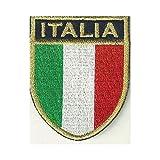 MAREL Patch Scudetto Italia Bordo Oro cm 5,5 x 7 Toppa Ricamata termoadesiva