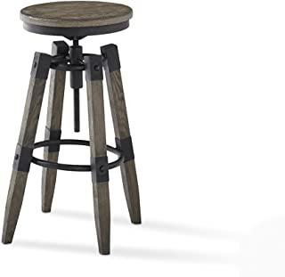 Plank and Hide Colton Adjustable Pub Height Bar Stool - Retro Finish Wooden Seat - Swivel Bar Stool - Silvered Oak-Installation Included