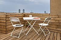 Aruba Set of 1 Table and 2 Chairs - all foldable for quick storage Made of durable HDPE material, perfect for Home & Garden use UV protected table-top makes it ideal for Outdoor use Lightweight design yet durable; chairs can take 190kg & tables can h...