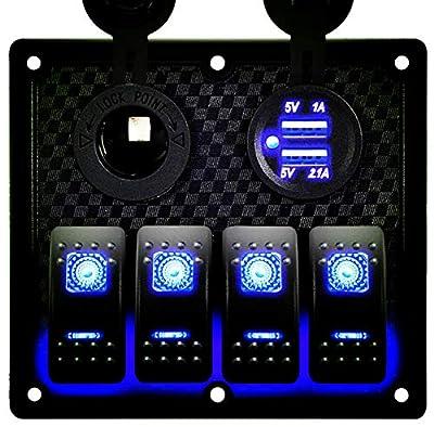 DCFlat 4/6/8/10 Gang Circuit LED Car Marine Waterproof 5 Pin Boat Rocker Switch Panel with Fuse Dual USB Slot LED Light + Power Socket Breaker Voltmeter for RV Car Boat