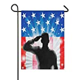 ChocoRa US Flag Military Soldier Saluting Silhouette Burlap Garden Flag Double Sided,House Yard Flags,Holiday Seasonal Outdoor Decorative Flag 12x18 Gift