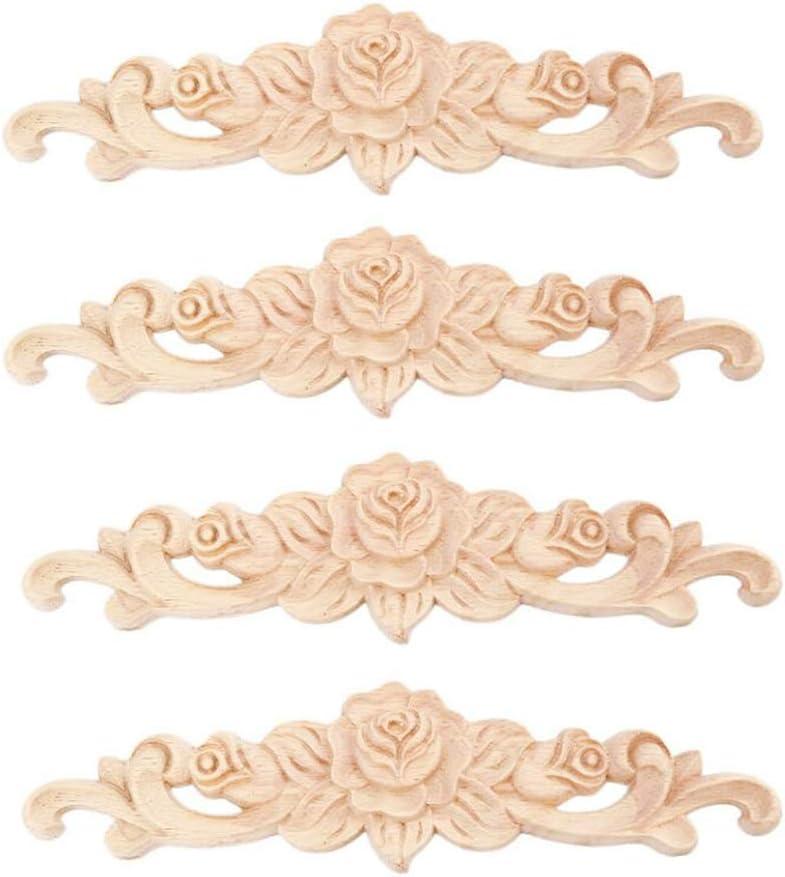 Beoot 4PCS Wood Carved Applique Onlay Unpainted Corner Onlay Applique Door Cabinet Rose Unpainted European Style (20x5cm/7.87x1.97inch)