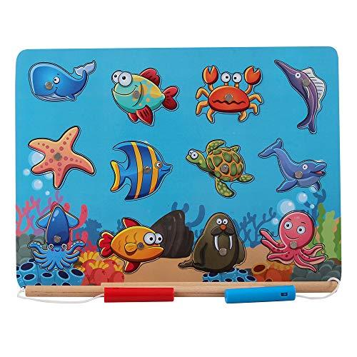 B&Julian® Angelspiel Holz Magnet mit 12tlg. Magnetische Tier Holzpuzzle Holzspielzeug Fische Angeln Spiel Motorikspielzeug Lernspielzeug für Kinder ab 18 Monate (Koralle)