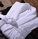 KUKI Sección Delgada de Manga Larga de algodón Albornoces Albornoces del Traje Masculino Galleta Verano Sra Albornoz Absorbente, White Waffle