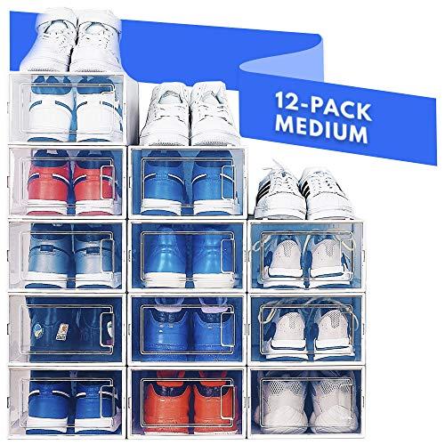shoes shelves organizers Shoe Organizer Shoe Storage - Shoe Boxes Clear Plastic Stackable, Plastic Shoe Box. Sneaker Shoe Containers, Shoes Organizer for Closet Organizers and Storage Bins, Organizador De Zapatos, Shoe Cubby