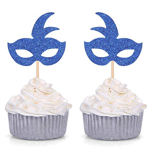 Royal Blue Mardi Gras Mask Cupcake Toppers Theme Party Birthday Decorations - 24 CT