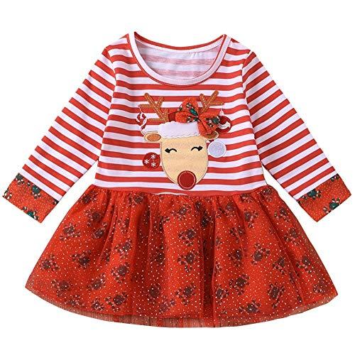 FANCYINN Vestido de Fiesta de Navidad para niñas pequeñas Vestido de Tul tutú con Estampado de Rayas de Dibujos Animados de Ciervos navideños Rojo 18-24 Meses