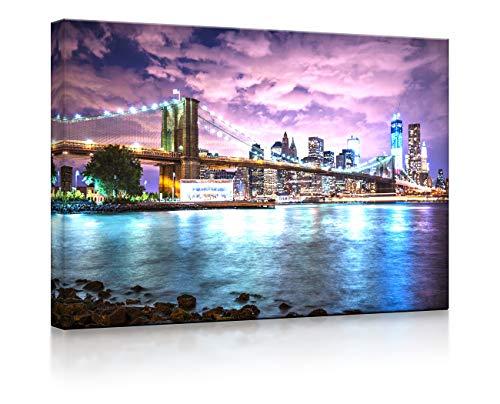 Lightbox-Multicolor | Bild mit LED Hintergrundbeleuchtung | New York Skyline mit Brooklyn Bridge | 100x70 cm | Fully Lighted