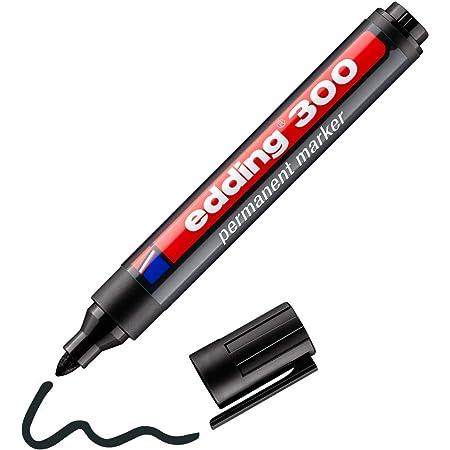 edding 300 Marqueur permanent - noir - 1 stylo - pointe ronde 1,5-3 mm - sèche vite, résiste à l'eau et aux frottements - pour carton, plastique, bois, métal, verre