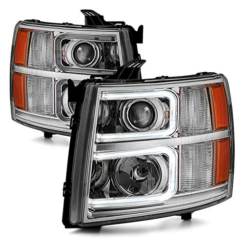 For 2007-13 Chevy Silverado 1500 | 2007-14 2500HD 3500HD LED C-Shape Tube Projector Headlights Pair Set