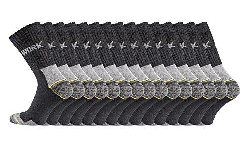TippTexx24 Ökotex Arbeitssocken mit Garantie, 6/9/12/15/18 oder 21 PAAR, normale Länge oder Kurzschaft-Socken (43/46, Schwarz 15 Paar)