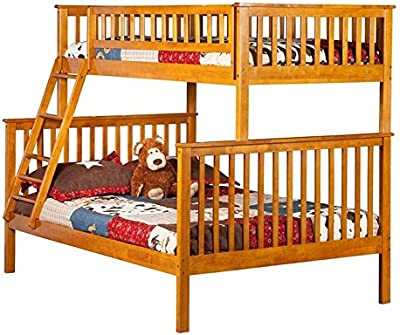 Leo & Lacey Twin Over Full Bunk Bed in Caramel Latte