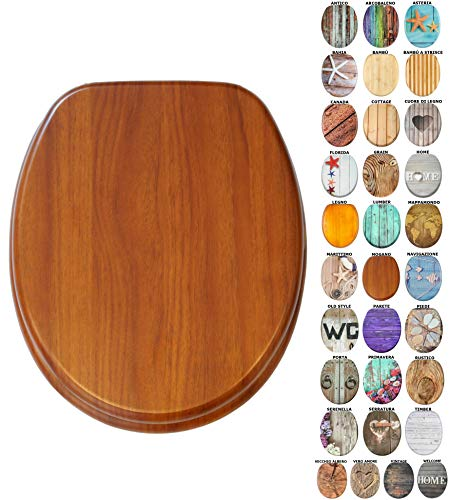 Sedile WC con chiusura ammortizzata | Grande scelta di sedili WC da legno robusto e di alta qualità (Mogano)
