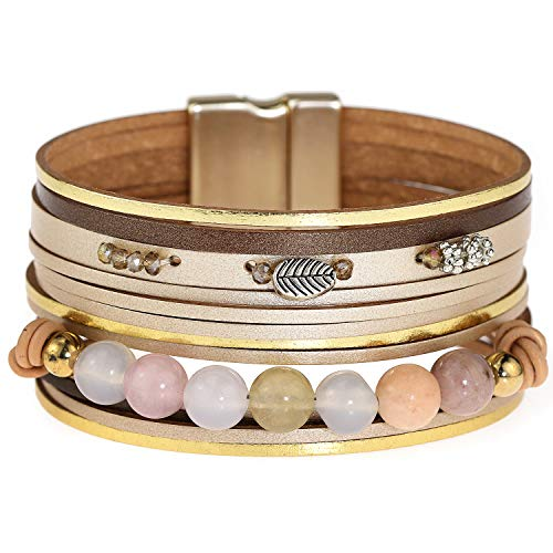 Suyi Leather Bracelets for Women Multi-Layer Braided Wrap Cuff Bangles for Womens Magnetic Clasp Handmade Boho Jewellery Gift for Friends Her Leaf Beads