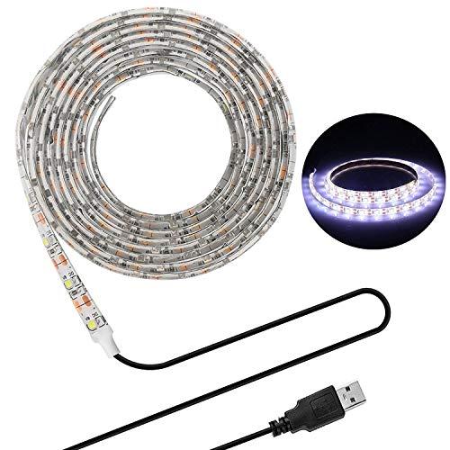 LED Beleuchtungsstreifen,USB TV Hintergrundbeleuchtung 16.4Ft/5m LED Band Licht für 40-90 Zoll HD Fernseher,wasserdichtes SMD 3528 5V Tageslichtweiß Bias Lighting,USB Bias Lighting für Heimkinos