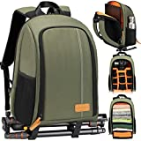 TARION Camera Backpack Waterproof Camera Bag Large Capacity Camera Case with 15 Inch Laptop Compartment Rain Cover for Women Men Photographer Lens Tripod Green